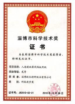 我公司人造琥珀屏风隔板用纸项目荣获淄博市科技进步二等奖